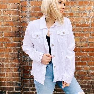 JM Collection White Jean Jacket trendy oversized